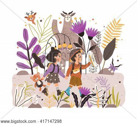 Happy Kids Walking Together In Fairy Forest Of Wonderland. Boy And Girl Holding Hands And Hiking In
