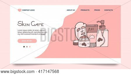 Skin Care Cosmetic, Landing Web Page, Concept Banner Website Template In Hand Drawn Style. Vector Il