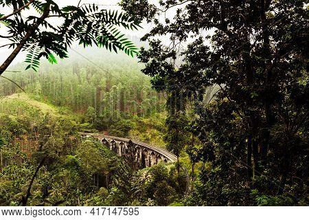 Nine-arch Bridge In Sri Lanka. Beautiful Railway Bridge In Asia. Nature Of Sri Lanka. Tea Plantation