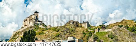 Panorama Of The Valere Basilica And The All Saints Chapel In Sion - The Canton Of Valais, Switzerlan