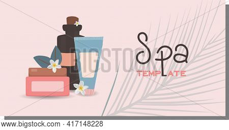 Advertising Template For Spa Salon. Beauty Salon Horizontal Banner. Personal Care And Cosmetics Conc