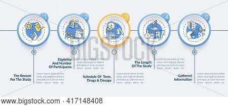 Clinical Trial Protocol Vector Infographic Template. Study Reason, Scheduling Presentation Design El