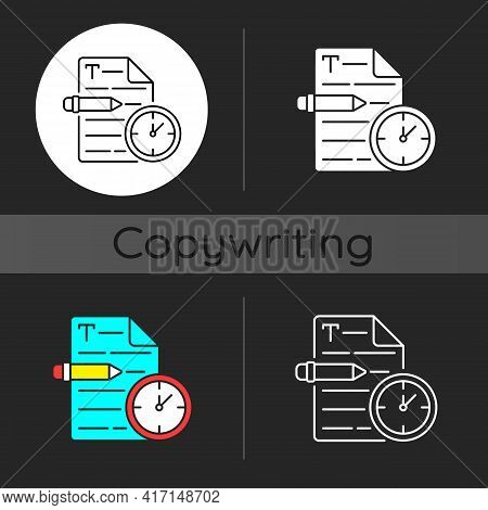 Urgent Copywriting Dark Theme Icon. Fast Copywriting Services. Time Management On Project. Writing C