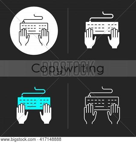 Keyboard Dark Theme Icon. Professional Freelance Worker. Copywriter Work. Author Job. Hands Typing O