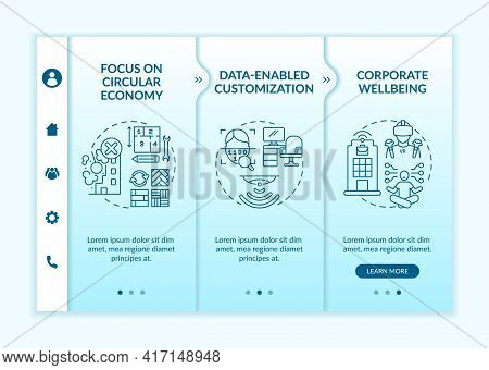 Future Office Design Onboarding Vector Template. Responsive Mobile Website With Icons. Web Page Walk