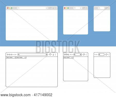 Browser Window Isolated Vector Web Line Elements. Design Template With Flat Browser Window For Mobil