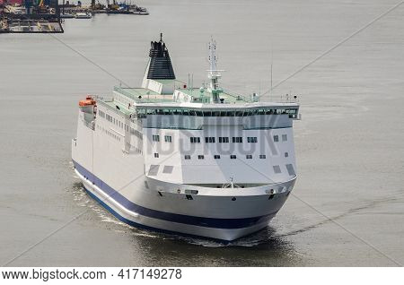 Maritime Transport - The Passenger Ferry Sails From The Port To The Sea
