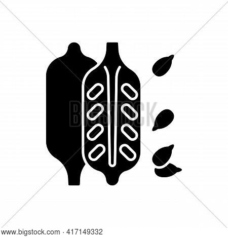 Sesame Black Glyph Icon. Food Ingredient, Cooking Seasoning. Nutritious Additives. Condiment For Coo
