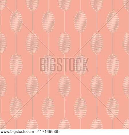 Vector Geometric Pattern With Connected Scribbled Ovals. Seamless Stripes Of White Ovals On Melon Co