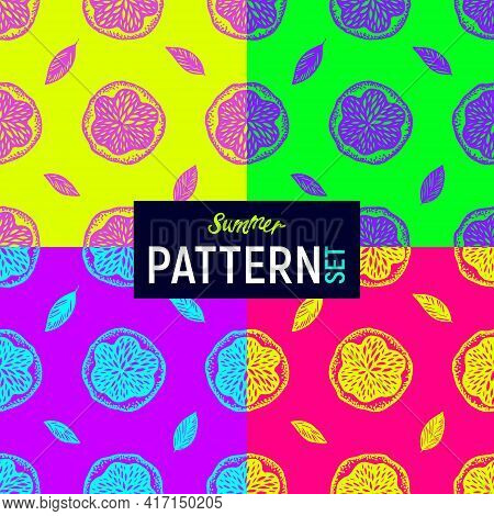 Bright Fluorescent Summer Exotic Collection Of Pop Art Patterns With Doodle Oranges. Vector Backgrou