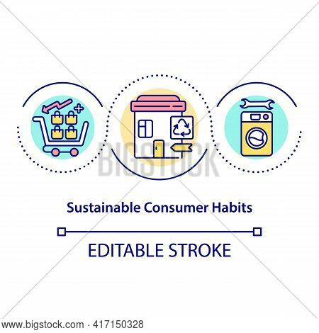 Sustainable Consumer Habits Concept Icon. Promoting Mindful Consumption Idea Thin Line Illustration.