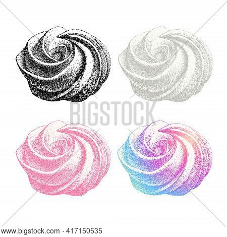 Set Of Color Airy French Meringues Twirls, Collection Of Marshmallow, Zephyr. Vector In Graphic Vint