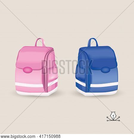 Briefcase For School Children. Pink Briefcase For A Girl And Blue For A Boy. The Design Of School Su