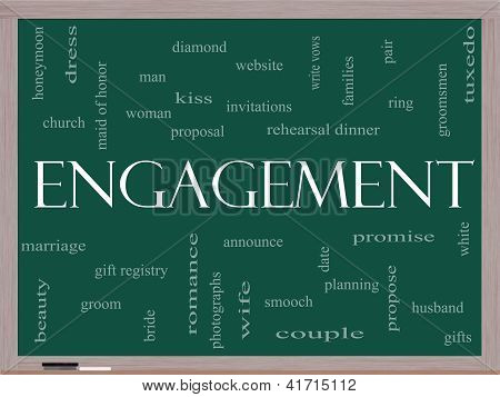Engagement Word Cloud Concept On A Blackboard