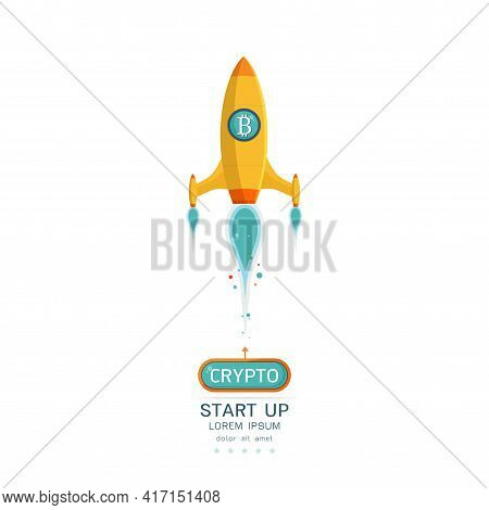 The Concept Of Bitcoin Cryptocurrency. Rockets Fly With The Bitcoin Icon. Crypto Market Goes Up On W