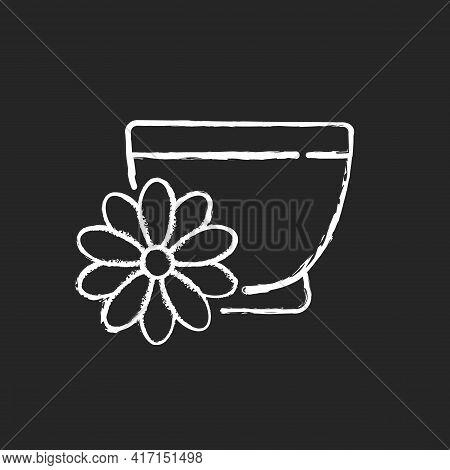 Chrysanthemum Tea Chalk White Icon On Black Background. Double Ninth Festival. Flower-based Infusion