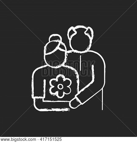 Old Couple Chalk White Icon On Black Background. Honor Senior Citizens Day. Double Ninth Festival. V
