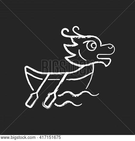 Dragon Boat Festival Chalk White Icon On Black Background. Tuen Ng. Ornately Carved Boats. Sacred Ce