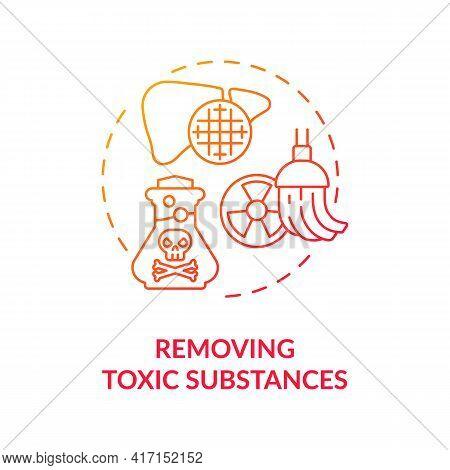 Removing Toxic Substances Concept Icon. Liver Function Idea Thin Line Illustration. Detoxification.