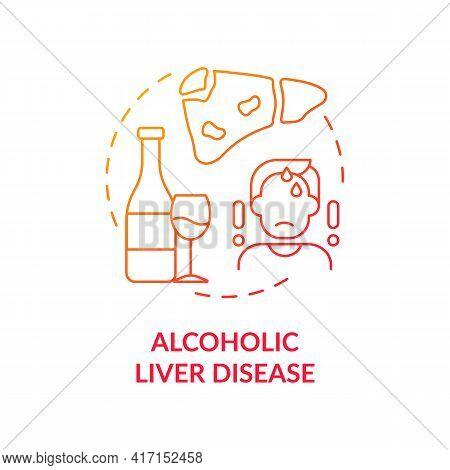 Alcoholic Liver Disease Concept Icon. Hepatitis Disease Idea Thin Line Illustration. Hepatocellular