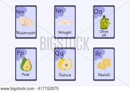 Colorful Alphabet Flashcard Letter M, N, O, P, Q, R - Mushroom, Nougat, Olive Oil, Pear, Quince, Rav