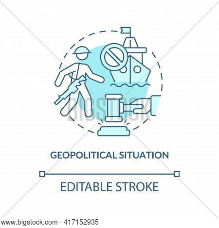 Geopolitical Situation Concept Icon. Oil Price Factor Idea Thin Line Illustration. Geographical Fact
