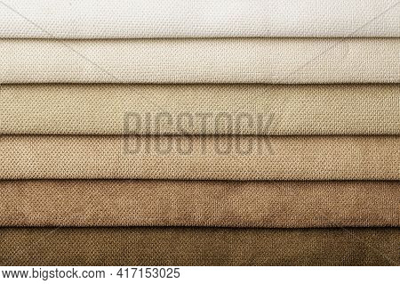 Swatch Of Woven Textile Shade And Gradient Of Brown Colors, Background. Catalog And Palette Beige To