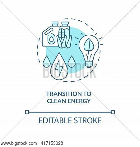 Transition To Clean Energy Concept Icon. Energy Industry Trend Idea Thin Line Illustration. Clean-en