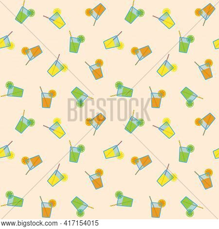 Citrus Juices In Blue Glasses With Striped Straws And Citrus Slices, Seamless Pattern On Beige Backg