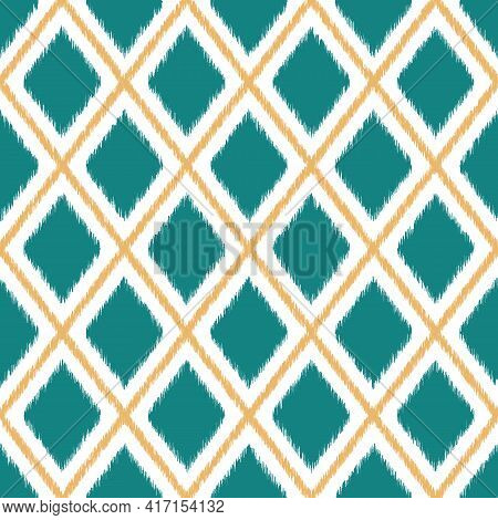 Seamless Ikat Diamond Checkered Pattern. Vector Geometric Pattern With Yellow, Teal And White Colors