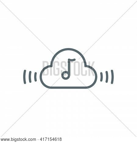Music Streaming Service Icon Isolated On White And Black Background. Sound Cloud Computing, Online M