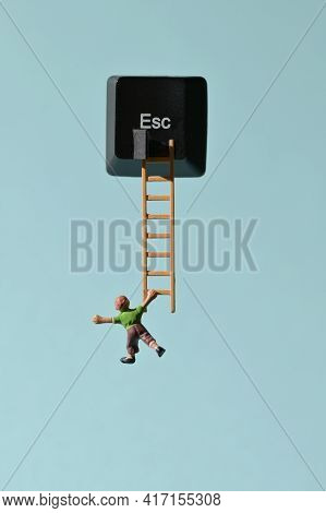 Abstract Escape Key And Miniature People Runaway On Ladder
