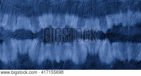 Indigo Striped Tie Dye. Blue Geometric Ethnic Design. Marine Hand Drawn Strokes. Marine Grunge Ethni
