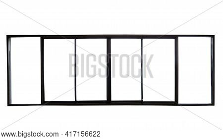 Isolate Real Photo Of Window Frame On White Background For Create Your Design, Clipping Path