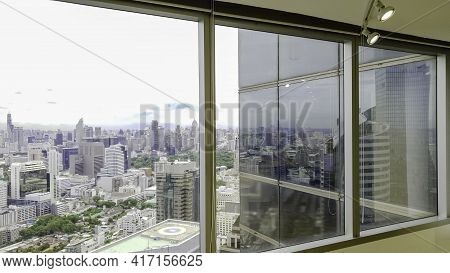Window Frame With Building City Background, Skyline Buildings From Window Office, Beautiful  Real Es