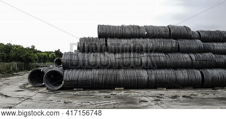 Pile Of High Carbon Wire Rod On Outdoor Area, Steel Wire Rods For Construction Business, Raw Materia