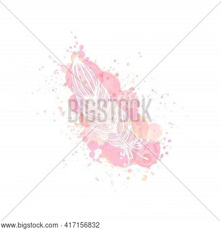 Outline Feather On Watercolor Pink Effect Background. Nude Rose Brush Strokes, Drop And Splash With