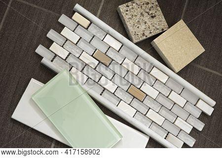 Remnants For Bathroom Remodel Includes Glass Tile Backsplash Countertop Samples And Mosaic Tile Acce