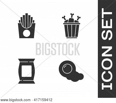 Set Scrambled Eggs, Potatoes French Fries In Box, Bag Or Packet Potato Chips And Chicken Leg Package