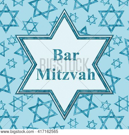 Bar Mitzvah Message In An Outline Of Star Of David With Blue Shield Of David Pattern 3d Illustration