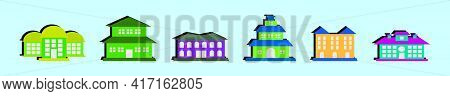 Set Of Mansion Cartoon Icon Design Template With Various Models. Modern Vector Illustration Isolated
