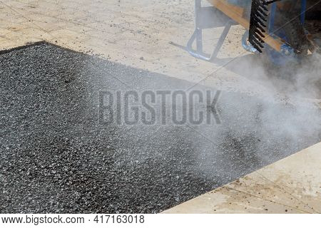 While Laying Asphalt New Road Surface Road Worker Repair Asphalt Covering