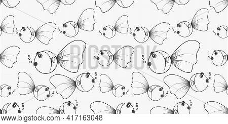 Goldfish Pattern Background Design Graphic Vector Illustration.