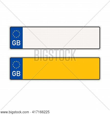 British Empty Car Plate Isolated On White Background. Vehicle Registration Number. Vector Stock