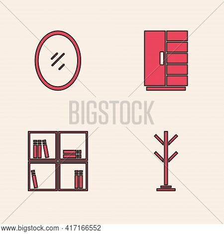 Set Coat Stand, Mirror, Wardrobe And Shelf With Books Icon. Vector