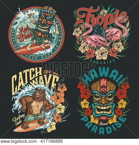 Hawaii Surfing Vintage Colorful Labels With Funny Bear And Man In Tiki Mask Riding Waves Pink Flamin