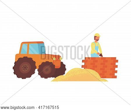 Construction Site Flat Icon With Tractor And Builder Laying Bricks Vector Illustration
