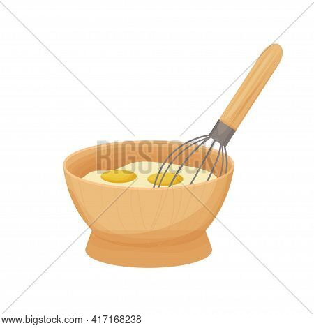 Whisking The Egg Yolk In The Wooden Bowl In Cartoon Style Isolated On White Background. Raw Nutritio