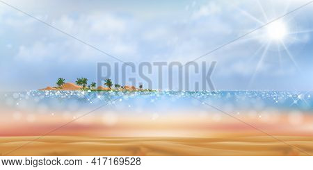 Tropical Beach With Fluffy Cloud And Blue Sky In Sunny Day Summer,sea Beach With Blue Ocean, Coconut