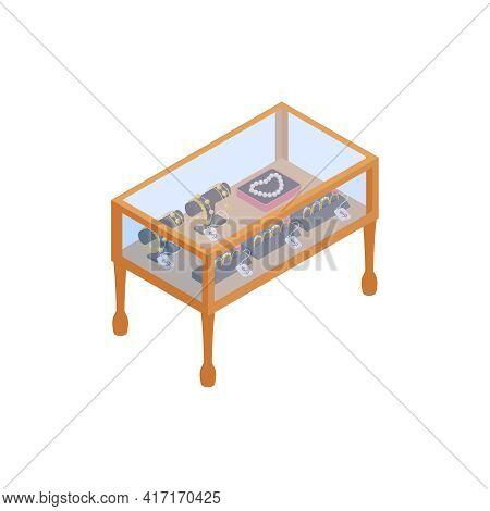 Pawn Shop Isometric Composition With Isolated Image Of Transparent Shop Display With Jewelry Vector
